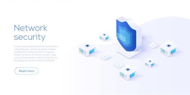 ilustraciones, imágenes clip art, dibujos animados e iconos de stock de ilustración de vector isométrica de seguridad de datos de la red. concepto de sistema de la protección del servidor en línea con datacenter o blockchain. asegurar la transacción del banco con la verificación de contraseña a través de internet. - robo de identidad