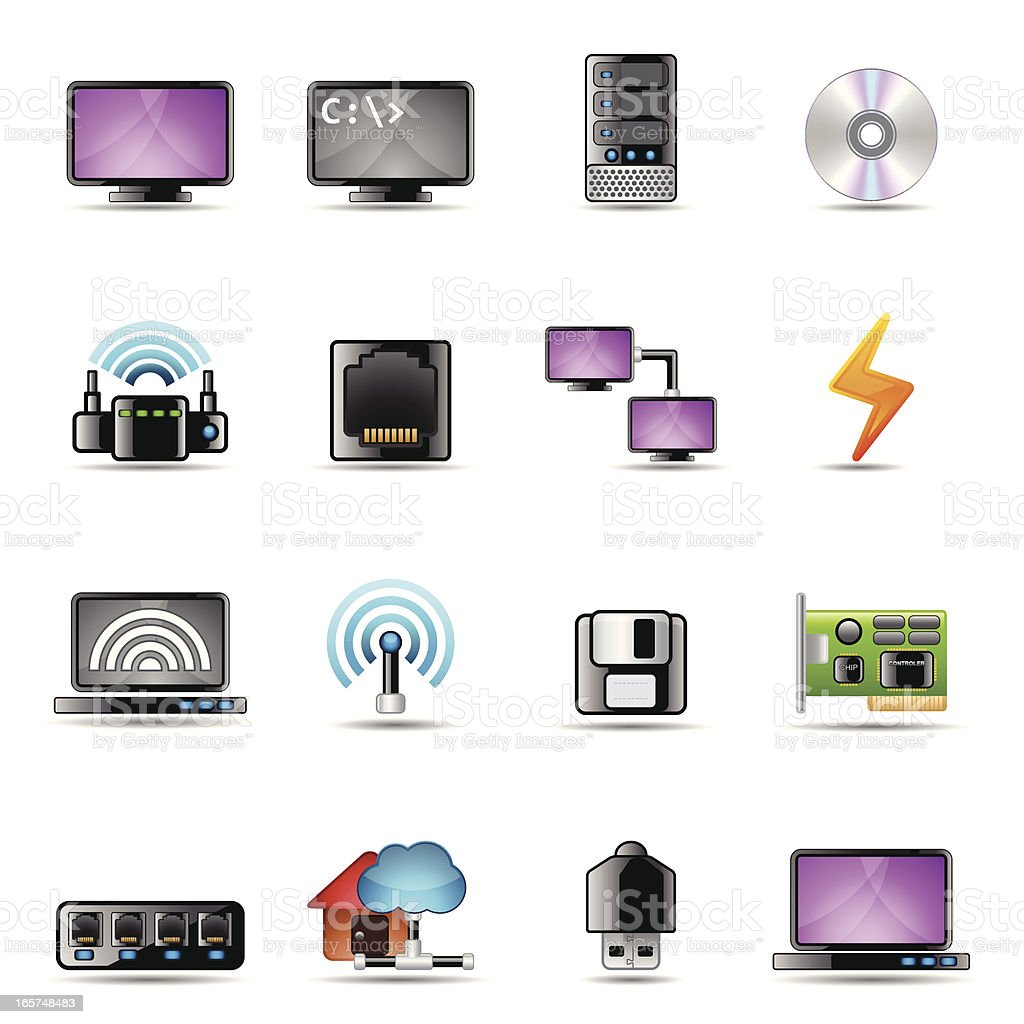 Network Devices and Components   Real Series royalty-free stock vector art