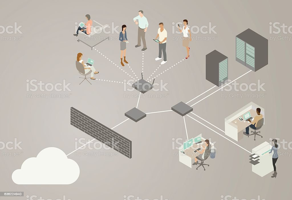 LAN Network Diagram vector art illustration
