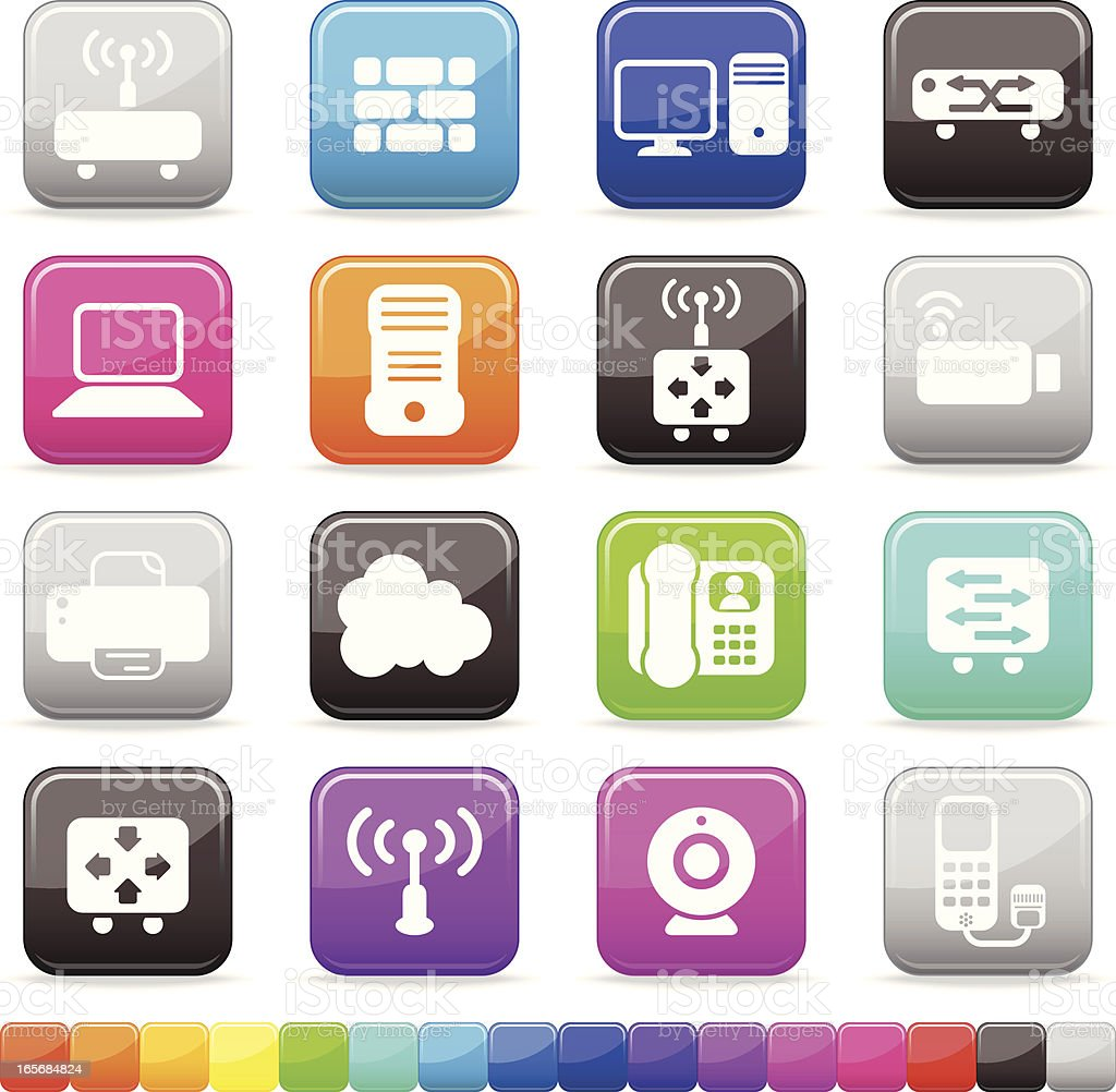 Network Elements Buttons | Silky Series on 16 Color Alternatives royalty-free stock vector art