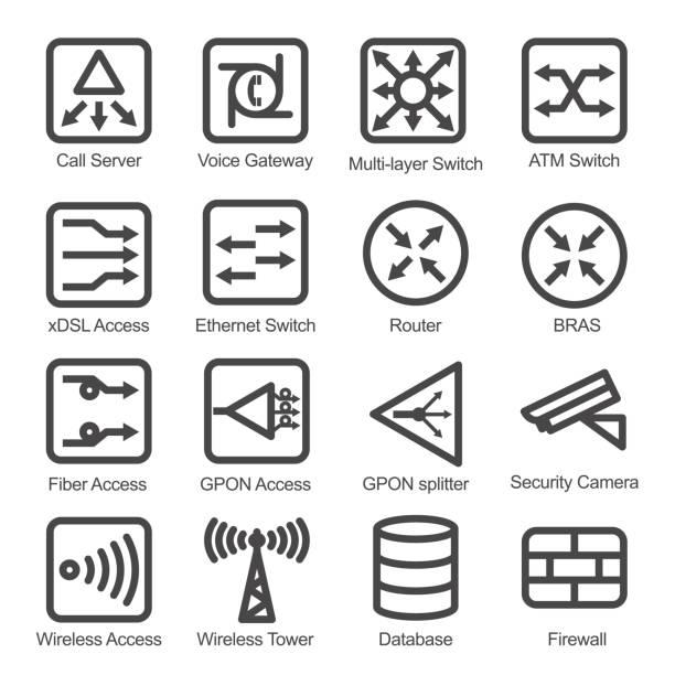 netzwerk-equipment-icon-set - schalter stock-grafiken, -clipart, -cartoons und -symbole