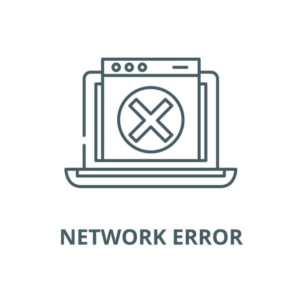 network error vector line icon, linear concept, outline sign, symbol - lost stock illustrations