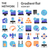 Network flat icon set, internet symbols collection, vector sketches, logo illustrations, computer web signs color gradient pictograms package isolated on white background, eps 10