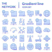 Network flat icon set, internet symbols collection, vector sketches, logo illustrations, computer web signs blue gradient pictograms package isolated on white background, eps 10