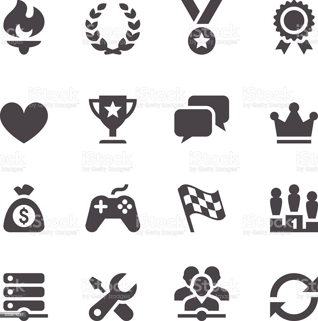 Network Gaming Icons vector art illustration