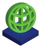 Network Globe Icon Isometric