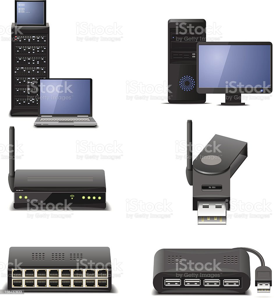network hardware vector art illustration