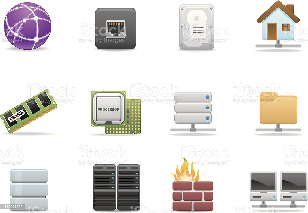 Network & Hosting icons | Premium Matte series royalty-free network hosting icons premium matte series stock vector art & more images of cpu