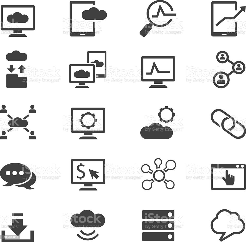 Network icon set vector art illustration