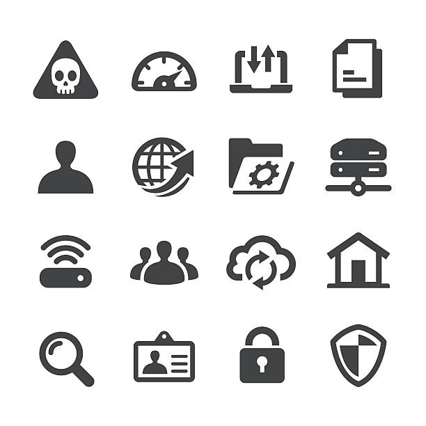network icons - acme series - telecommuting stock illustrations, clip art, cartoons, & icons