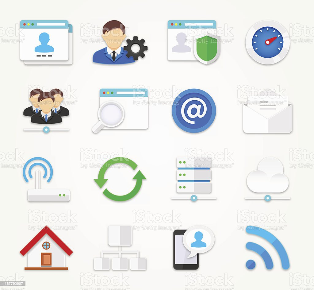 Network icons set | FLAT Series royalty-free stock vector art