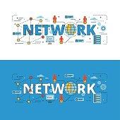 Network lettering flat line design