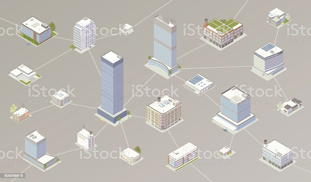 Network of businesses illustration royalty-free network of businesses illustration stock vector art & more images of architecture