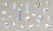 Office buildings and other buildings are illustrated as nodes connected by a network. Vector illustration is presented in isometric view.