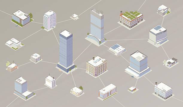 Network of businesses illustration vector art illustration