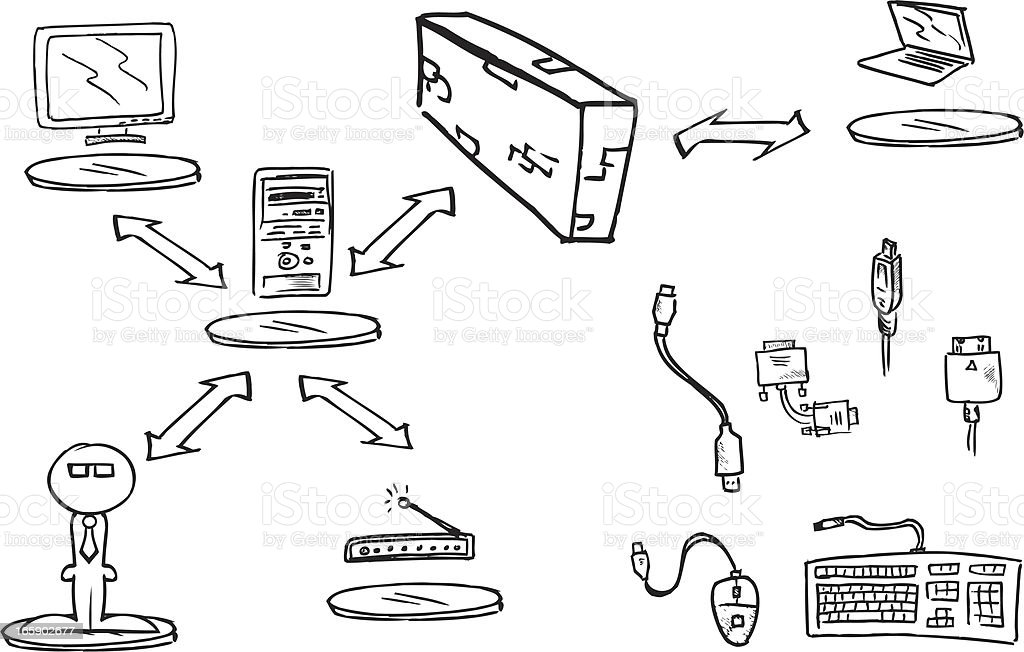 Network of computers connecting components royalty-free stock vector art