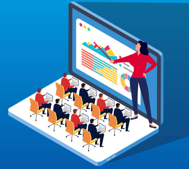 Network Online Training vector art illustration