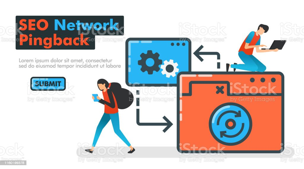 Seo Network Pingback Line Vector Illustration People Try