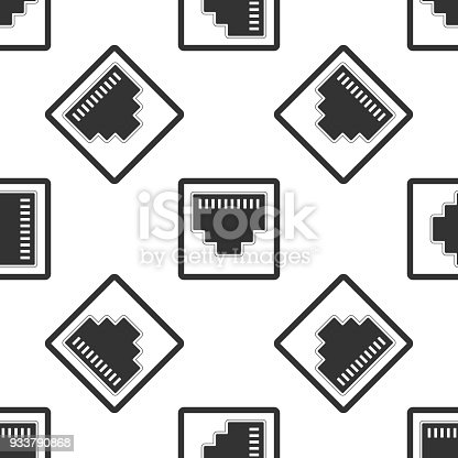 Network Port Cable Socket Icon Seamless Pattern On White