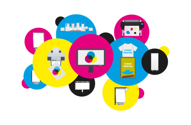 stockillustraties, clipart, cartoons en iconen met netwerk afdrukken cloud - wolken met verschillende afdrukken technologieën en toepassingen - drukken
