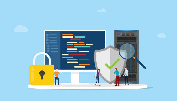 network programming security concept with code program and server safe icon - vector network programming security concept with code program and server safe icon - vector illustration cybersecurity stock illustrations