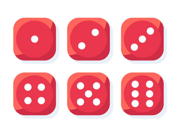 red dice vector - dice stock illustrations, clip art, cartoons, & icons