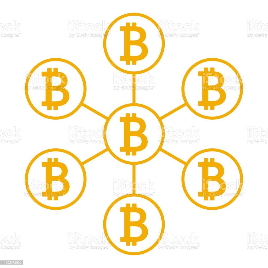 Network Scheme Bitcoin Database Icon Vector Illustration