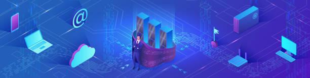 Netzwerksicherheit 3d isometrische Vektorabbildung, Datenschutzkonzept, Firewall-Angriff, Phishing-Betrug, Server-Vernetzung, Informationssicherheit, Laptop, Computer – Vektorgrafik