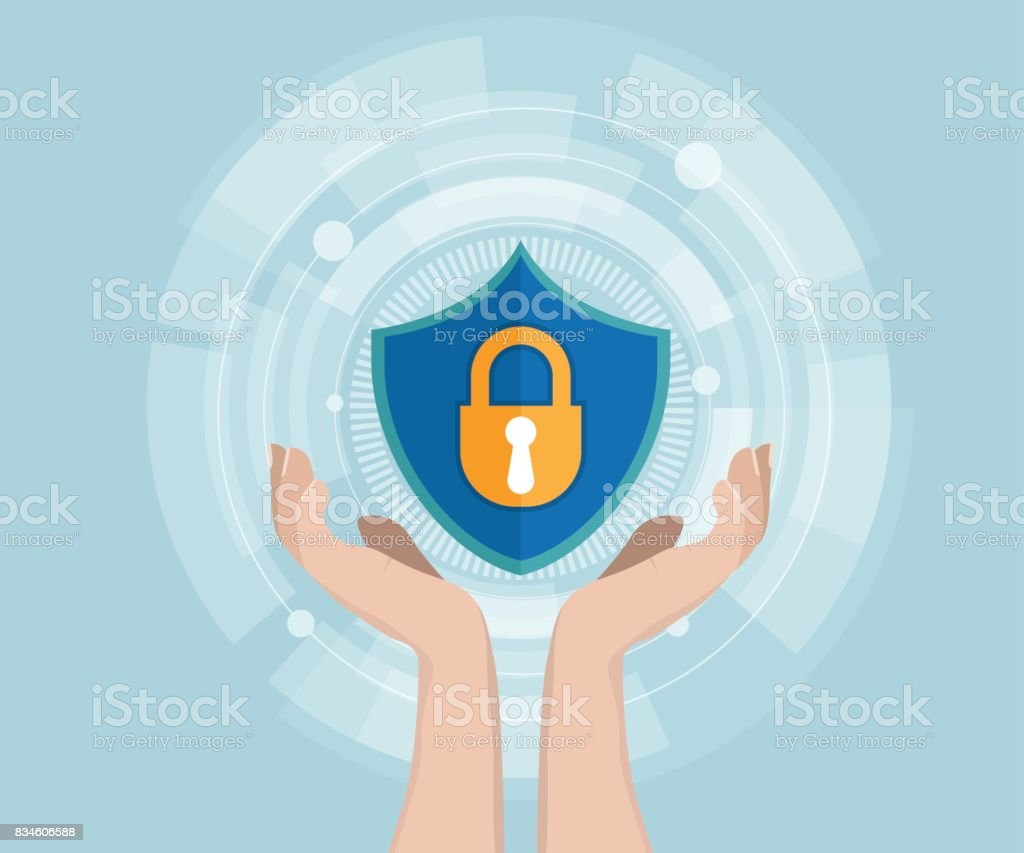 network security concept human hand with shield vector art illustration