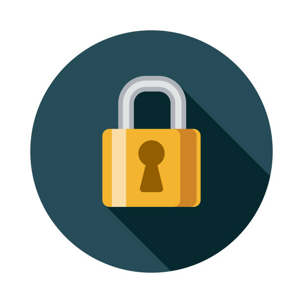 Network Security Flat Design SEO Icon A flat design styled search engine optimization (SEO) icon with a long side shadow. Color swatches are global so it's easy to edit and change the colors. locking stock illustrations