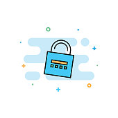 Network Security Flat Line Icon