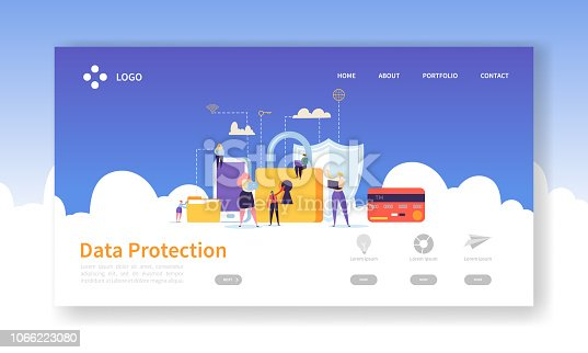 Network Security Landing Page. Data Protection Banner with Flat People Characters and Digital Data Secure Website Template. Easy Edit and Customize. Vector illustration