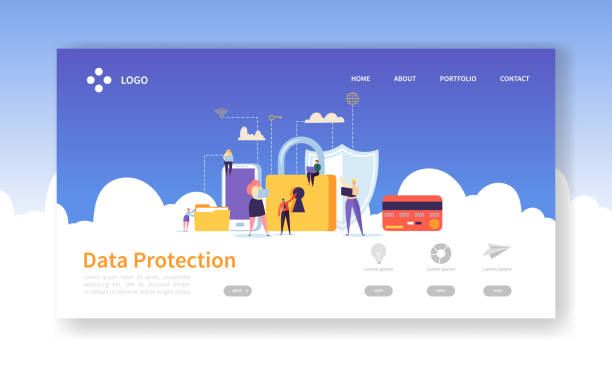 Network Security Landing Page. Data Protection Banner with Flat People Characters and Digital Data Secure Website Template. Easy Edit and Customize. Vector illustration Network Security Landing Page. Data Protection Banner with Flat People Characters and Digital Data Secure Website Template. Easy Edit and Customize. Vector illustration cybersecurity stock illustrations