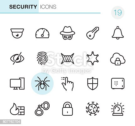 20 Outline Style - Black line Network Security - Pixel Perfect icons / Set #19