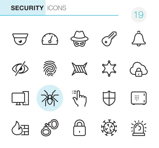 Network Security - Pixel Perfect icons 20 Outline Style - Black line Network Security - Pixel Perfect icons / Set #19 hacker stock illustrations