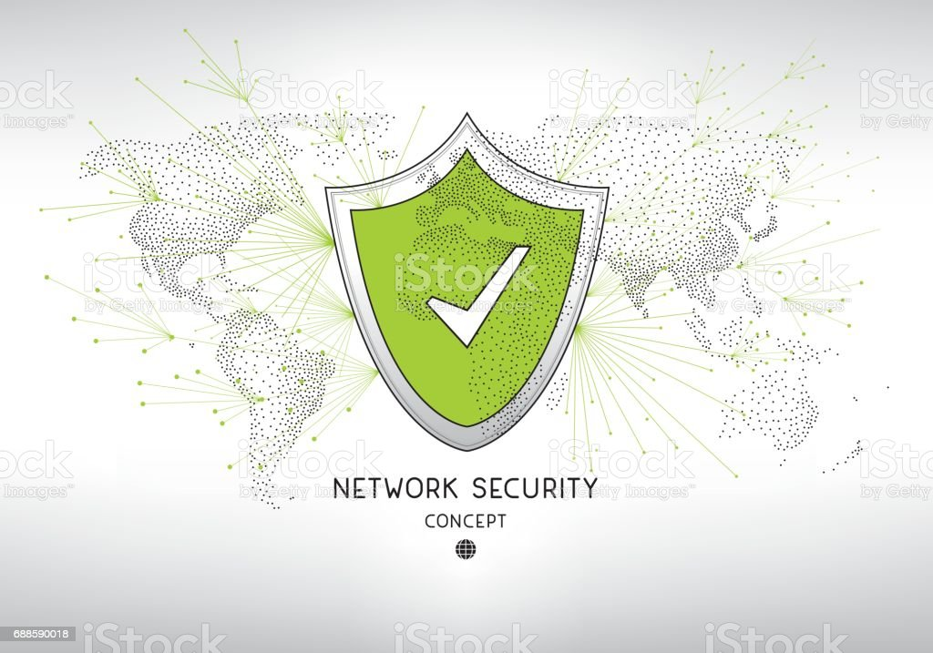 Network security shield concept vector art illustration