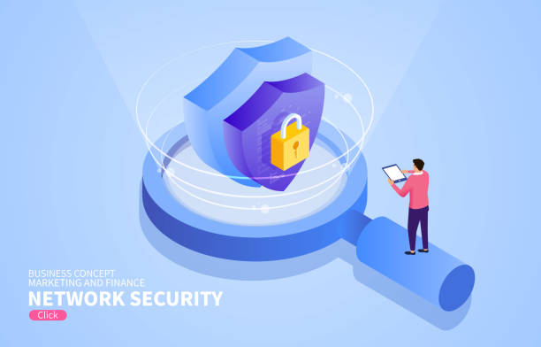 Network security technology research Network security technology research security stock illustrations