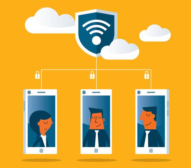 ilustrações, clipart, desenhos animados e ícones de rede-segurança - computador cadeado