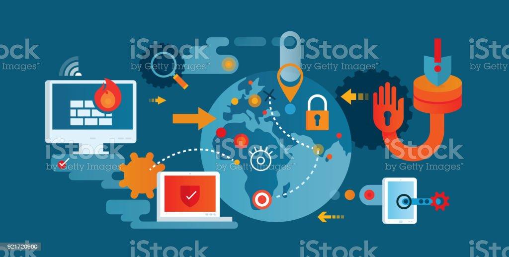 Netzwerksicherheit – Vektorgrafik