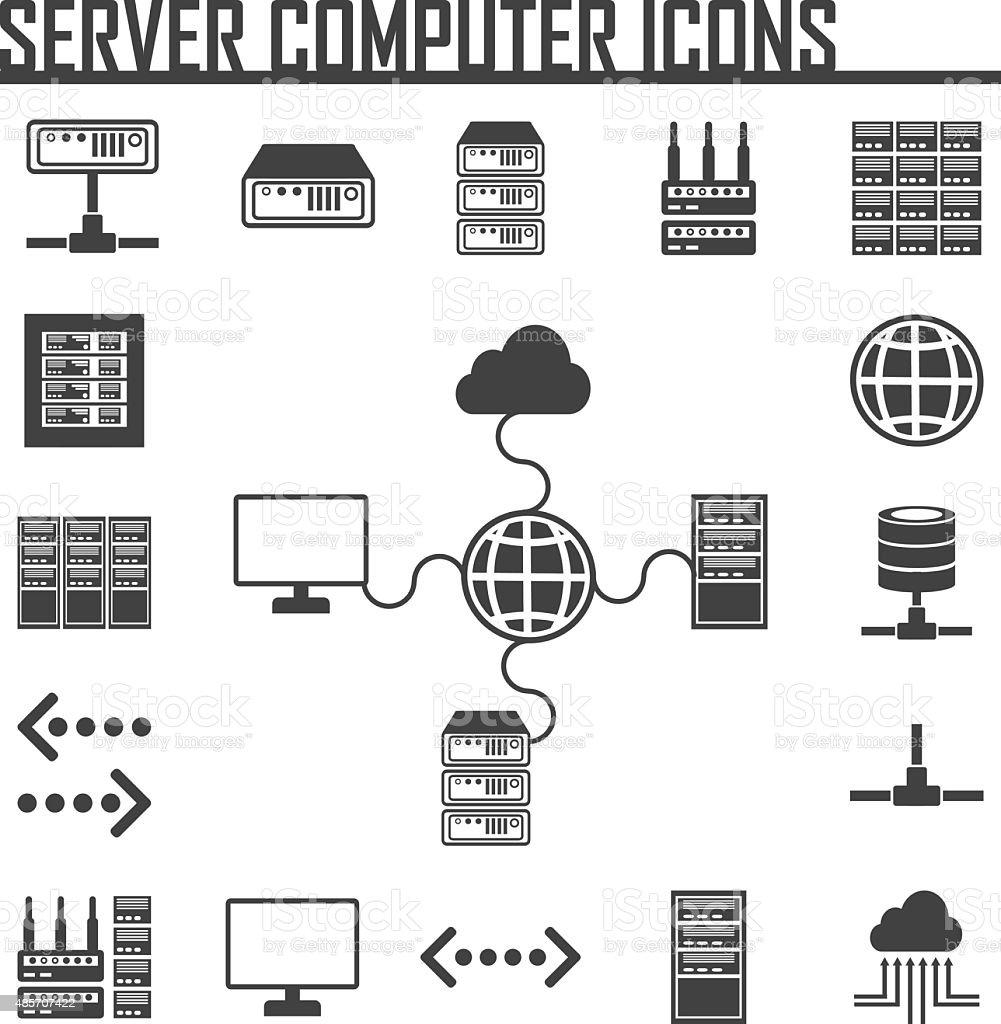 network server and hosting icons icon set stock vector art. Black Bedroom Furniture Sets. Home Design Ideas