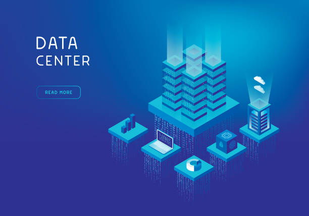 network servers concept - rzut izometryczny stock illustrations