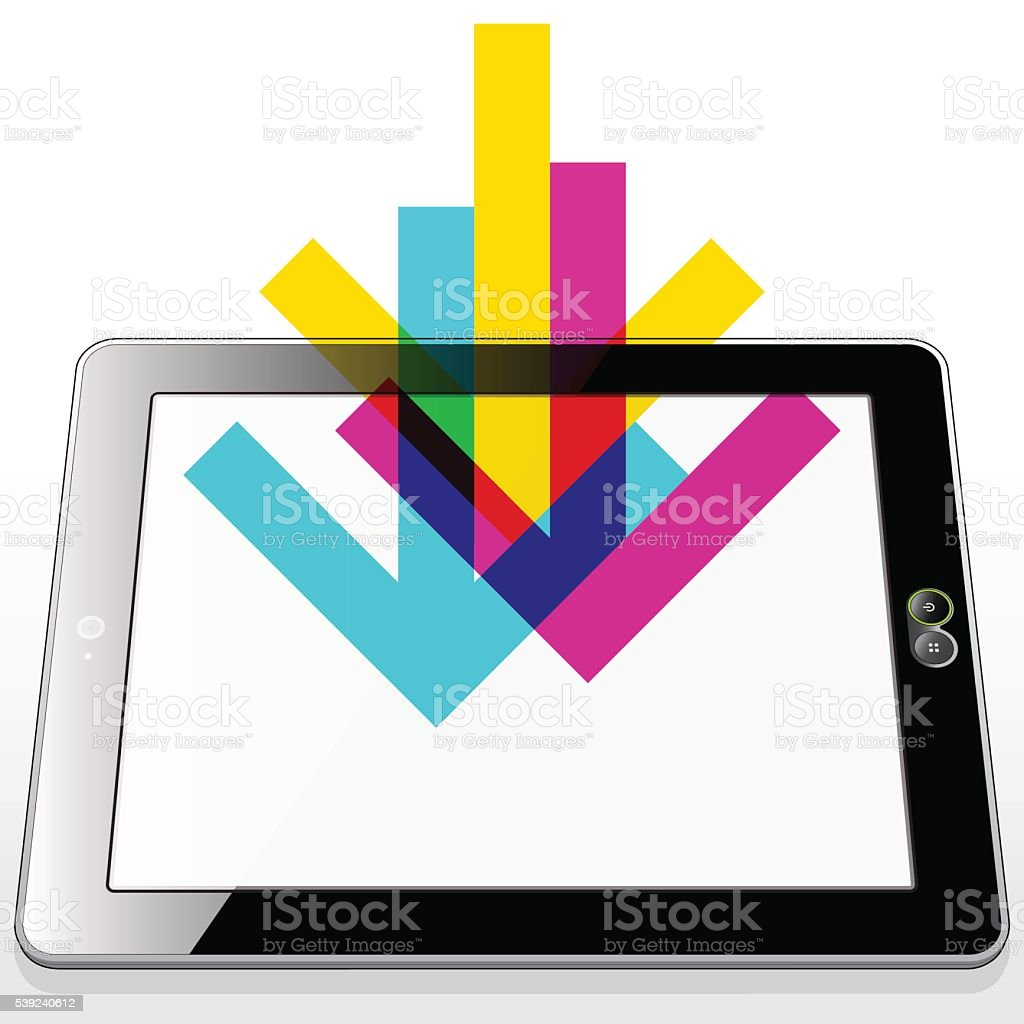 Network Tablet Download royalty-free network tablet download stock vector art & more images of cloud computing