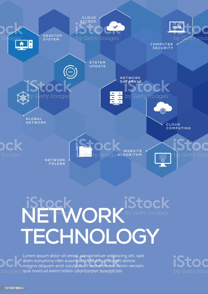 Network Technology Brochure Template Layout Cover Design Stock