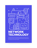 Network Technology Concept Line Style Cover Design for Annual Report, Flyer, Brochure.