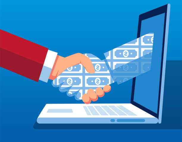 network technology cooperation and transaction - trust stock illustrations