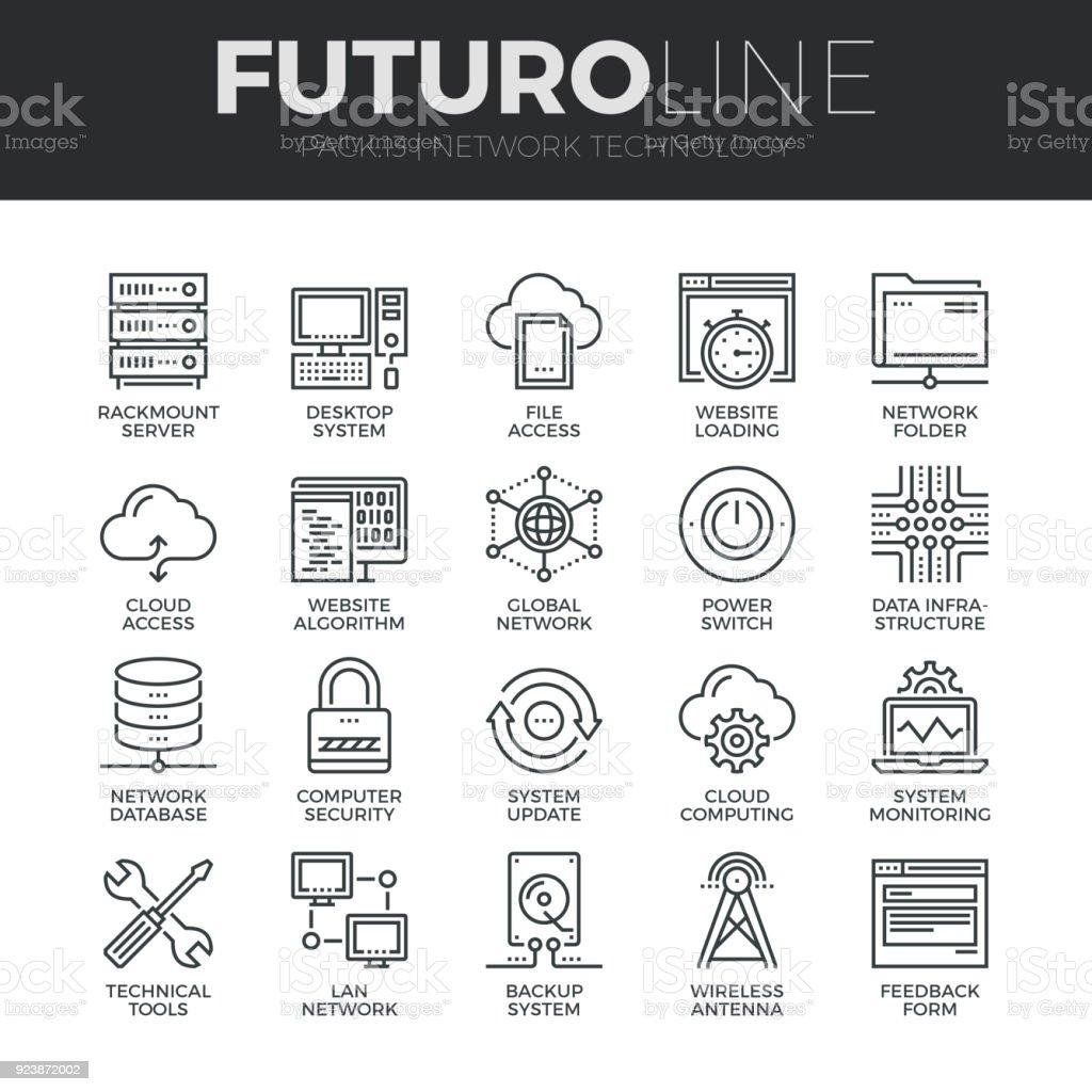 Network Technology Futuro Line Icons Set