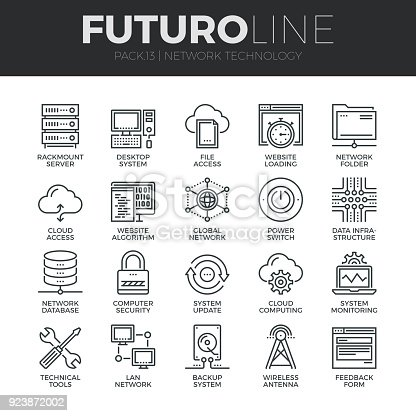 Modern thin line icons set of  cloud computing network, internet data technology. Premium quality outline symbol collection. Simple mono linear pictogram pack. Stroke vector symbol concept for web graphics.