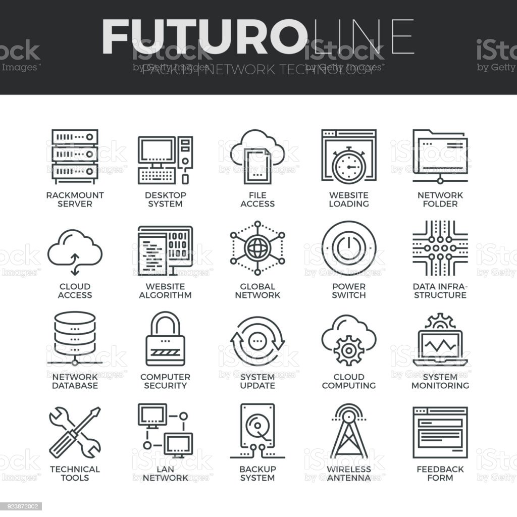 Network Technology Futuro Line Icons Set vector art illustration