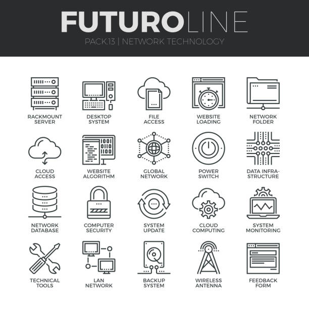 network technology futuro line icons set - technology icons stock illustrations, clip art, cartoons, & icons