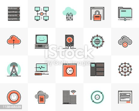 Flat line icons set of computer network technology infrastructure. Unique color flat design pictogram with outline elements. Premium quality vector graphics concept for web, logo, branding, infographics.